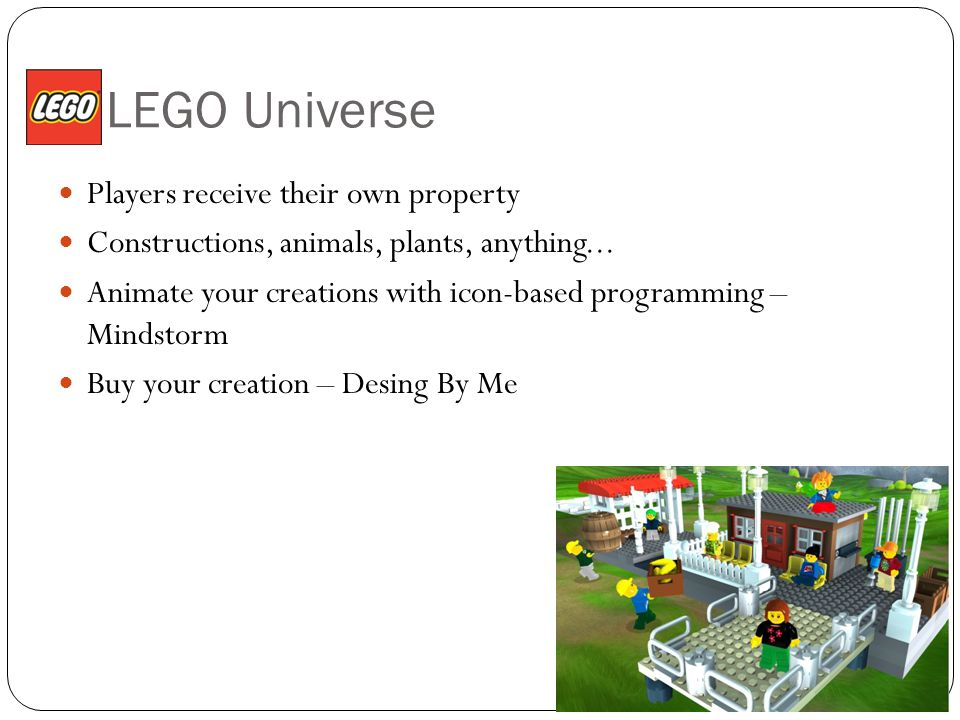 LEGO Universe Players receive their own property Constructions, animals, plants, anything...
