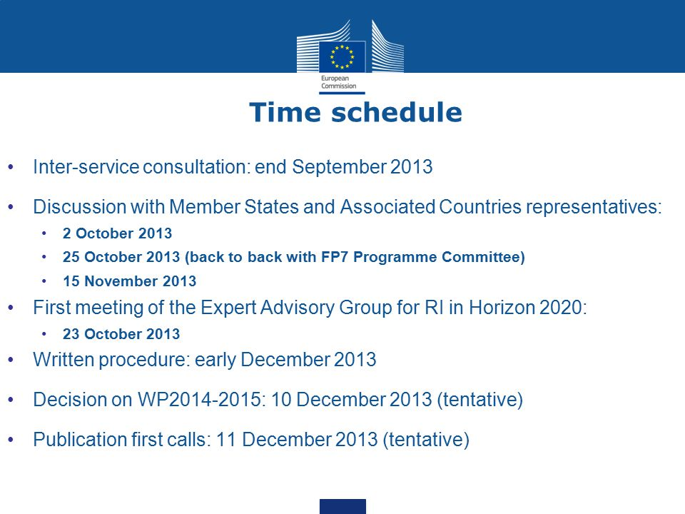 Time schedule Inter-service consultation: end September 2013 Discussion with Member States and Associated Countries representatives: 2 October 2013 25 October 2013 (back to back with FP7 Programme Committee) 15 November 2013 First meeting of the Expert Advisory Group for RI in Horizon 2020: 23 October 2013 Written procedure: early December 2013 Decision on WP2014-2015: 10 December 2013 (tentative) Publication first calls: 11 December 2013 (tentative)