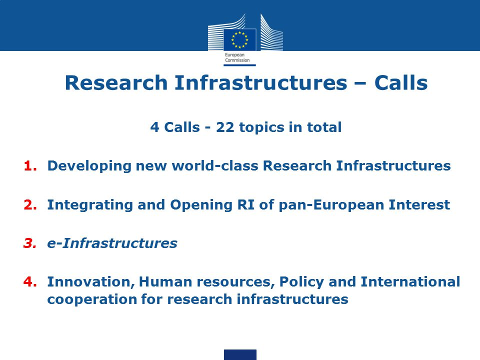 Research Infrastructures – Calls 4 Calls - 22 topics in total 1.Developing new world-class Research Infrastructures 2.Integrating and Opening RI of pan-European Interest 3.e-Infrastructures 4.Innovation, Human resources, Policy and International cooperation for research infrastructures
