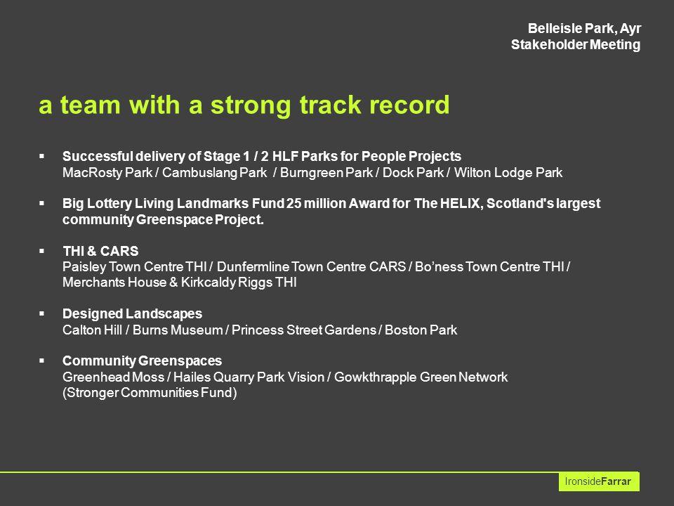 Belleisle Park, Ayr Stakeholder Meeting IronsideFarrar our role developing a team approach...