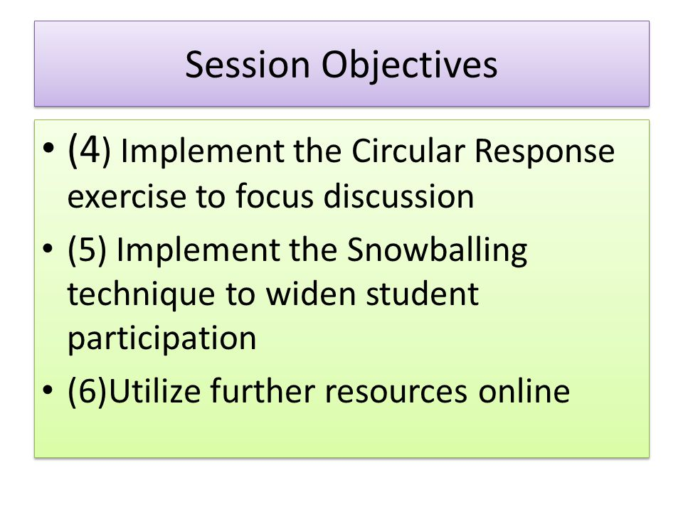 Session Objectives (4 ) Implement the Circular Response exercise to focus discussion (5) Implement the Snowballing technique to widen student particip