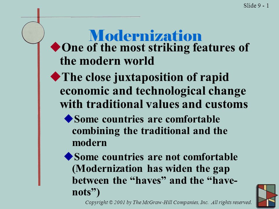 Copyright © 2001 by The McGraw-Hill Companies, Inc. All rights reserved. Slide 9 - 1 Modernization  One of the most striking features of the modern w