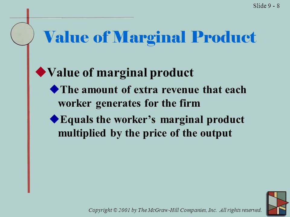 Copyright © 2001 by The McGraw-Hill Companies, Inc. All rights reserved. Slide 9 - 8 Value of Marginal Product  Value of marginal product  The amoun