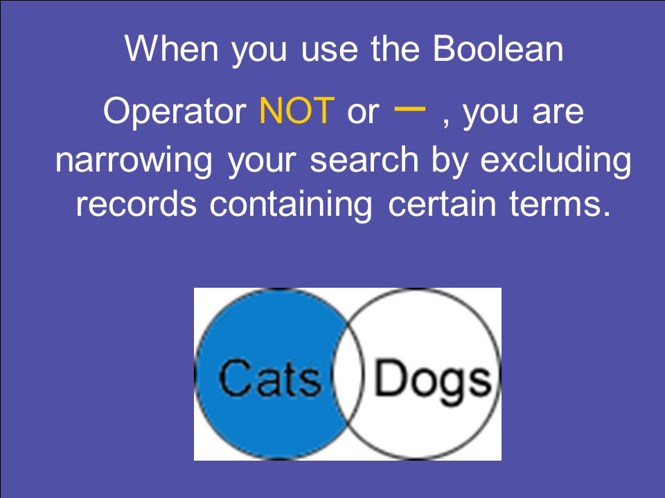 When you use the Boolean Operator NOT or –, you are narrowing your search by excluding records containing certain terms.