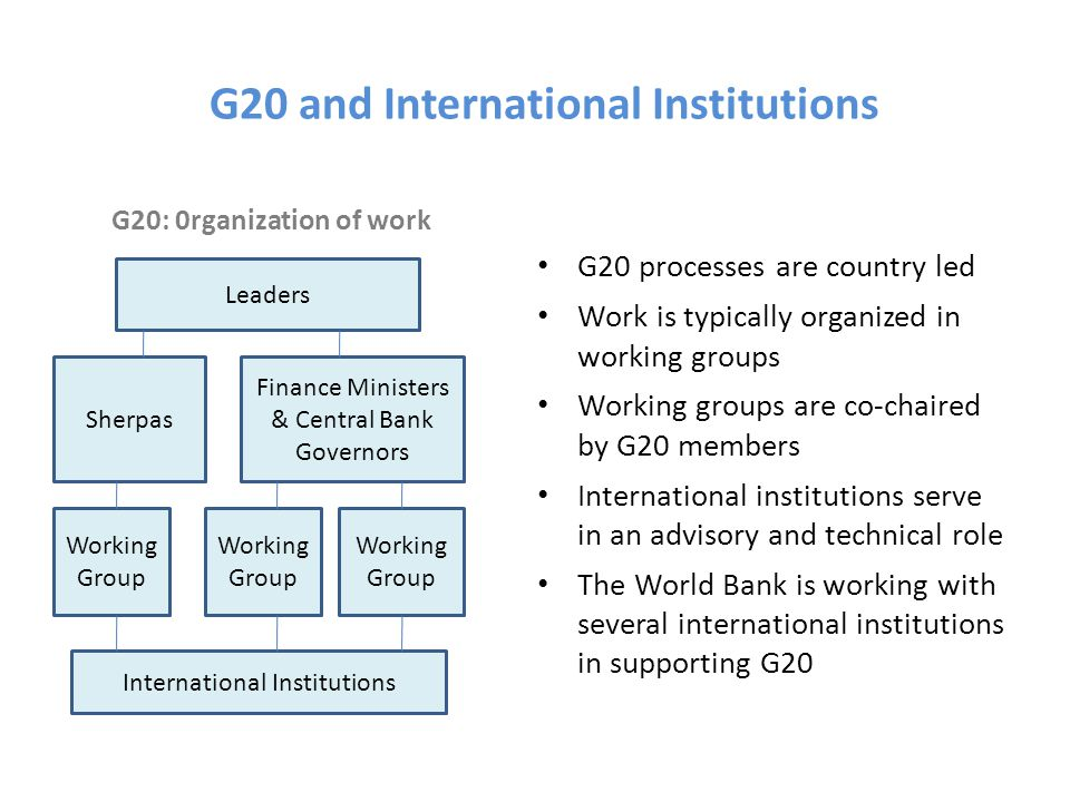 G20 and International Institutions G20: 0rganization of work G20 processes are country led Work is typically organized in working groups Working groups are co-chaired by G20 members International institutions serve in an advisory and technical role The World Bank is working with several international institutions in supporting G20 Leaders Sherpas Finance Ministers & Central Bank Governors Working Group International Institutions
