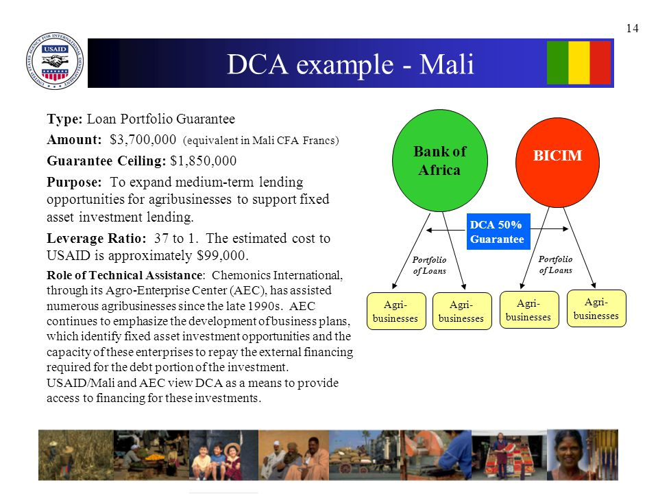 14 DCA example - Mali Type: Loan Portfolio Guarantee Amount: $3,700,000 (equivalent in Mali CFA Francs) Guarantee Ceiling: $1,850,000 Purpose: To expand medium-term lending opportunities for agribusinesses to support fixed asset investment lending.