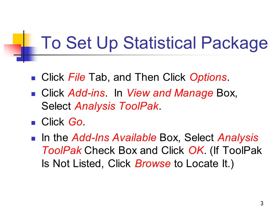 3 To Set Up Statistical Package Click File Tab, and Then Click Options.
