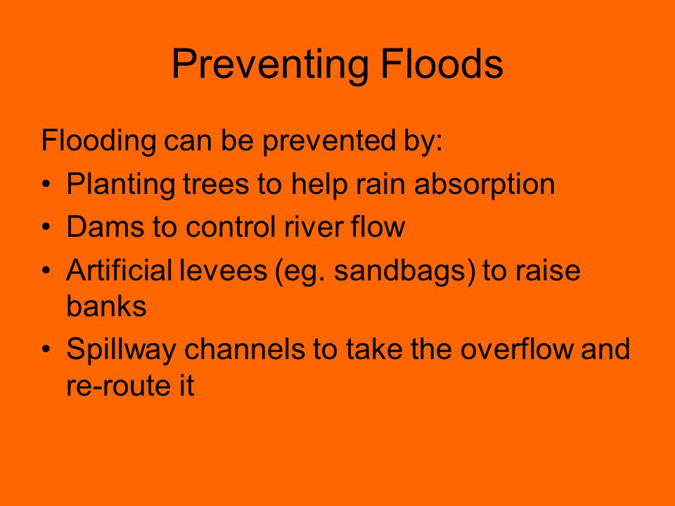 Preventing Floods Flooding can be prevented by: Planting trees to help rain absorption Dams to control river flow Artificial levees (eg. sandbags) to