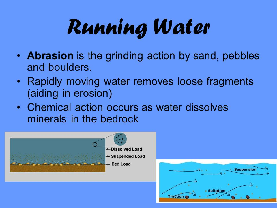 Running Water Abrasion is the grinding action by sand, pebbles and boulders. Rapidly moving water removes loose fragments (aiding in erosion) Chemical