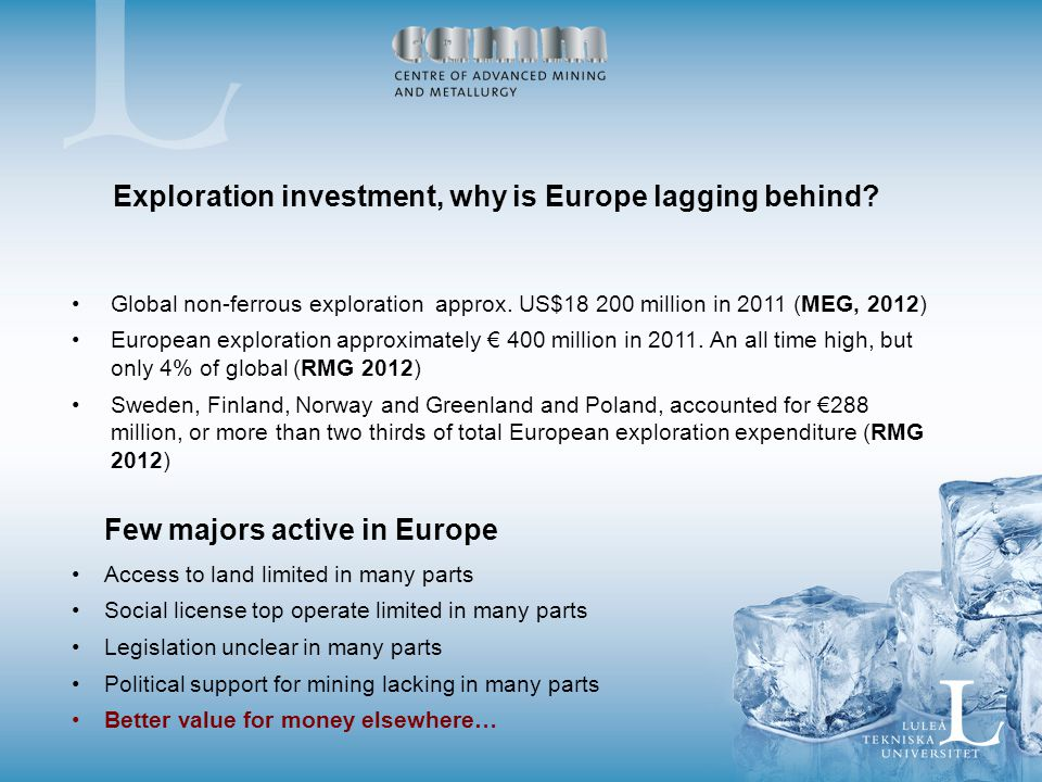 Exploration investment, why is Europe lagging behind.