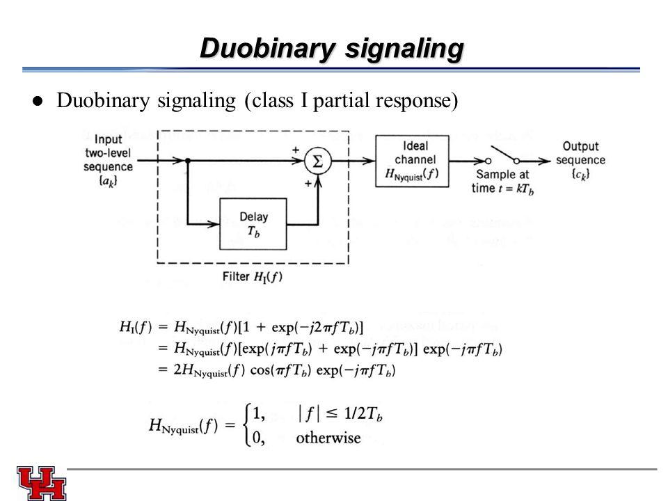 Duobinary signaling Duobinary signaling (class I partial response)