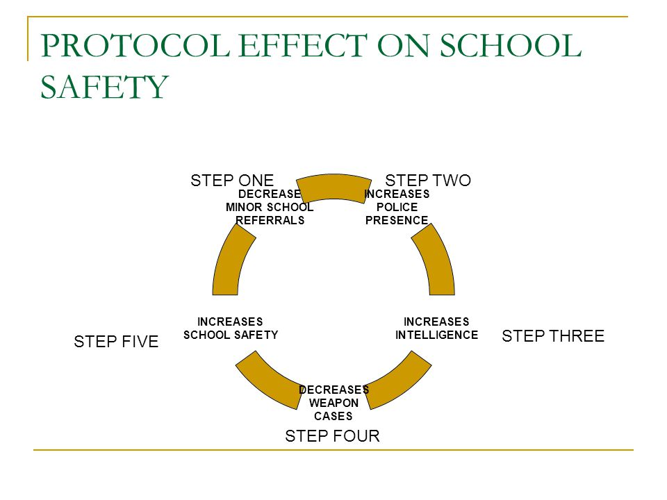 PROTOCOL EFFECT ON SCHOOL SAFETY INCREASES POLICE PRESENCE INCREASES INTELLIGENCE DECREASES WEAPON CASES INCREASES SCHOOL SAFETY DECREASE MINOR SCHOOL