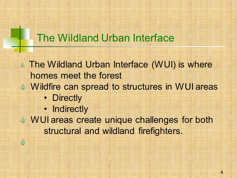 4 The Wildland Urban Interface (WUI) is where homes meet the forest Wildfire can spread to structures in WUI areas Directly Indirectly WUI areas create unique challenges for both structural and wildland firefighters.