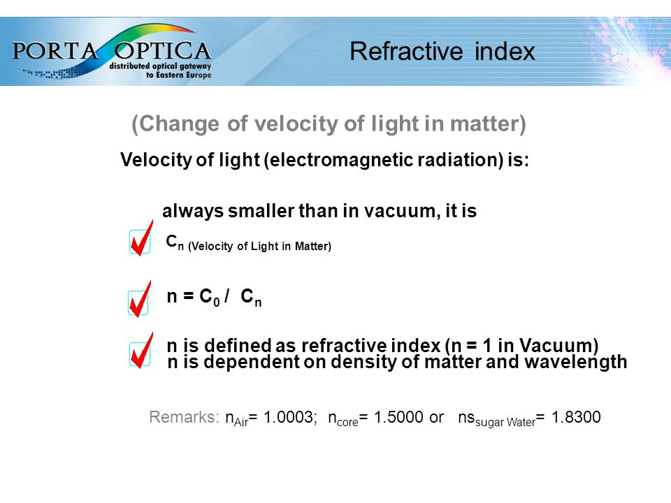 10 Refractive index (Change of velocity of light in matter) Velocity of light (electromagnetic radiation) is: always smaller than in vacuum, it is C n (Velocity of Light in Matter) n = C 0 / C n n is defined as refractive index (n = 1 in Vacuum) n is dependent on density of matter and wavelength Remarks: n Air = 1.0003; n core = 1.5000 or ns sugar Water = 1.8300