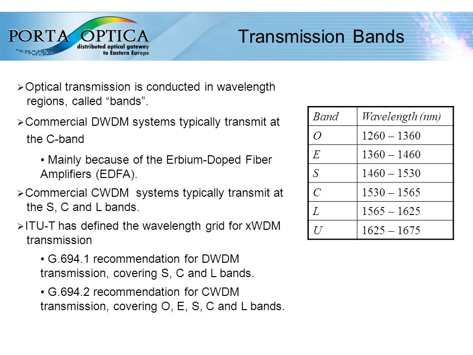 13 Transmission Bands  Optical transmission is conducted in wavelength regions, called bands .