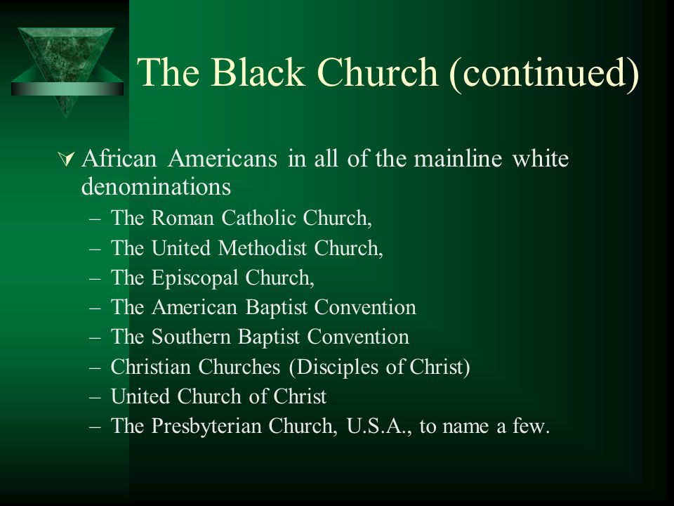 The Black Church (continued)  African Americans in all of the mainline white denominations –The Roman Catholic Church, –The United Methodist Church, –The Episcopal Church, –The American Baptist Convention –The Southern Baptist Convention –Christian Churches (Disciples of Christ) –United Church of Christ –The Presbyterian Church, U.S.A., to name a few.