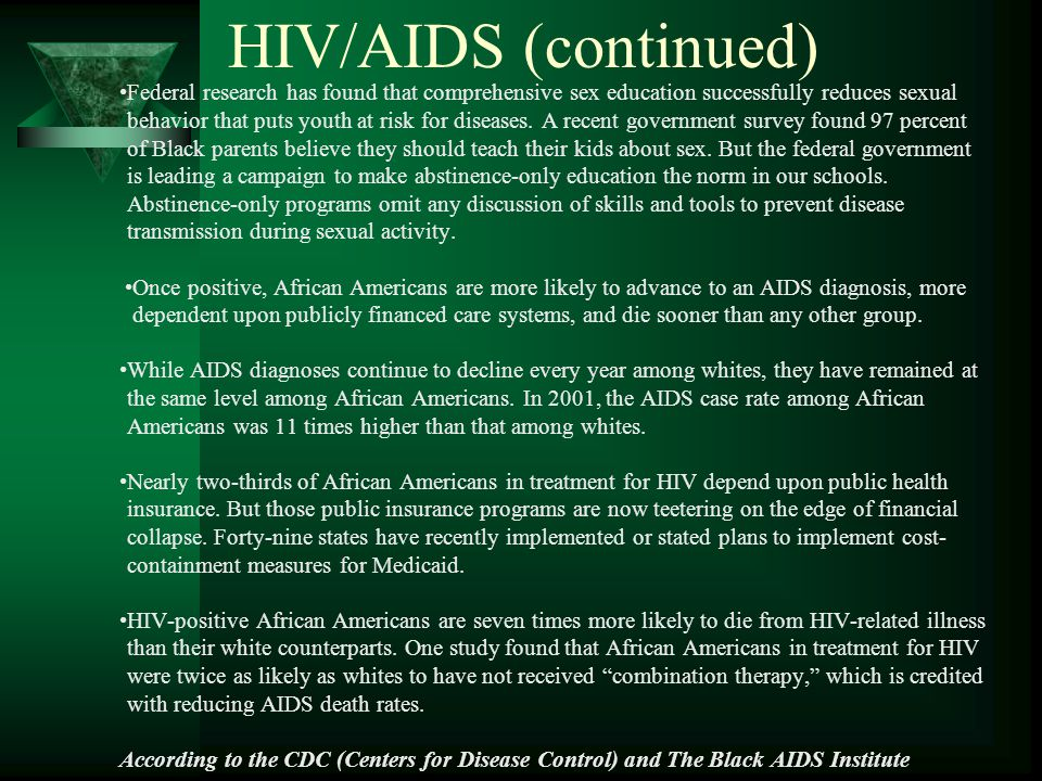 HIV/AIDS (continued) Federal research has found that comprehensive sex education successfully reduces sexual behavior that puts youth at risk for diseases.