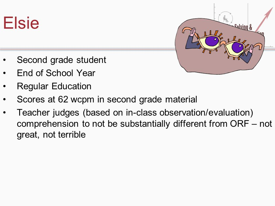 Elsie Second grade student End of School Year Regular Education Scores at 62 wcpm in second grade material Teacher judges (based on in-class observation/evaluation) comprehension to not be substantially different from ORF – not great, not terrible