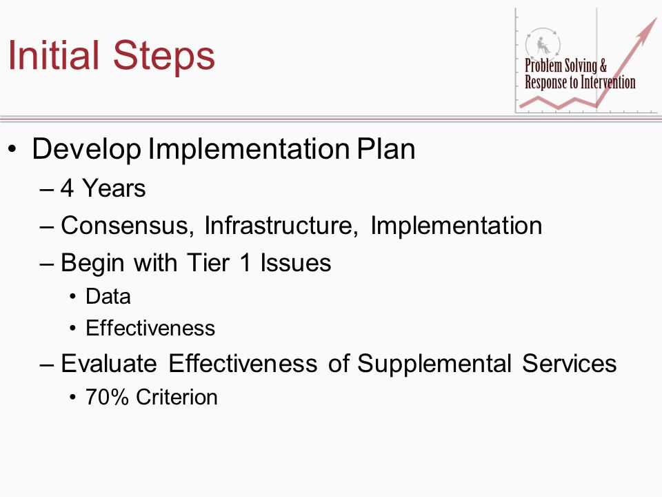 Initial Steps Develop Implementation Plan –4 Years –Consensus, Infrastructure, Implementation –Begin with Tier 1 Issues Data Effectiveness –Evaluate Effectiveness of Supplemental Services 70% Criterion