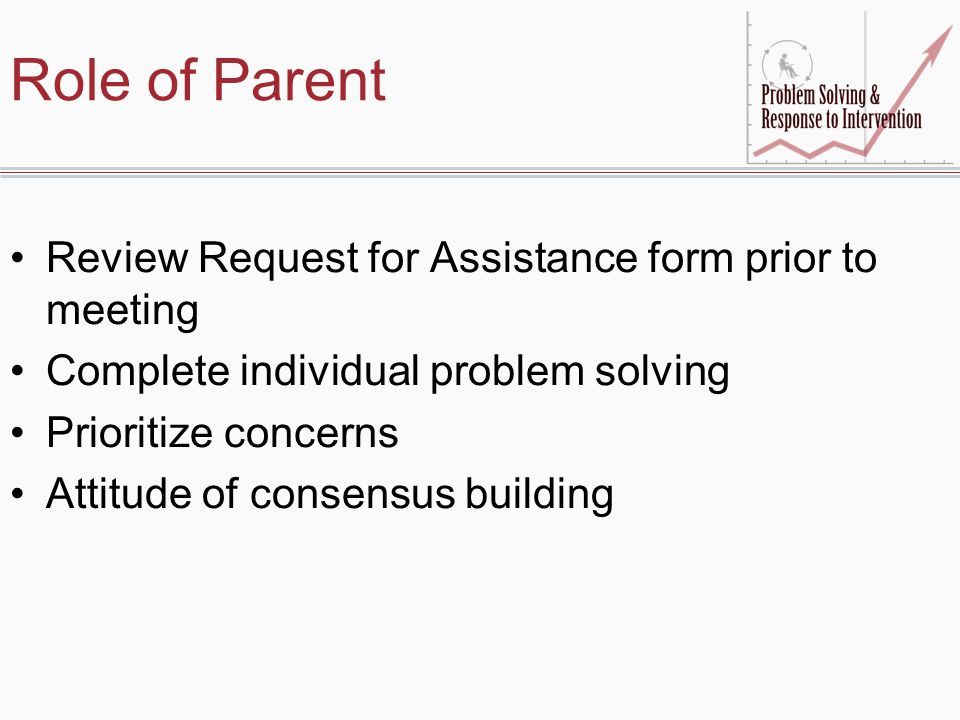 Role of Parent Review Request for Assistance form prior to meeting Complete individual problem solving Prioritize concerns Attitude of consensus building