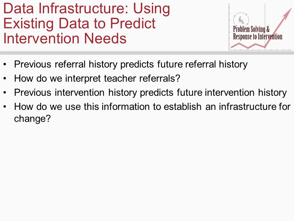 Data Infrastructure: Using Existing Data to Predict Intervention Needs Previous referral history predicts future referral history How do we interpret teacher referrals.