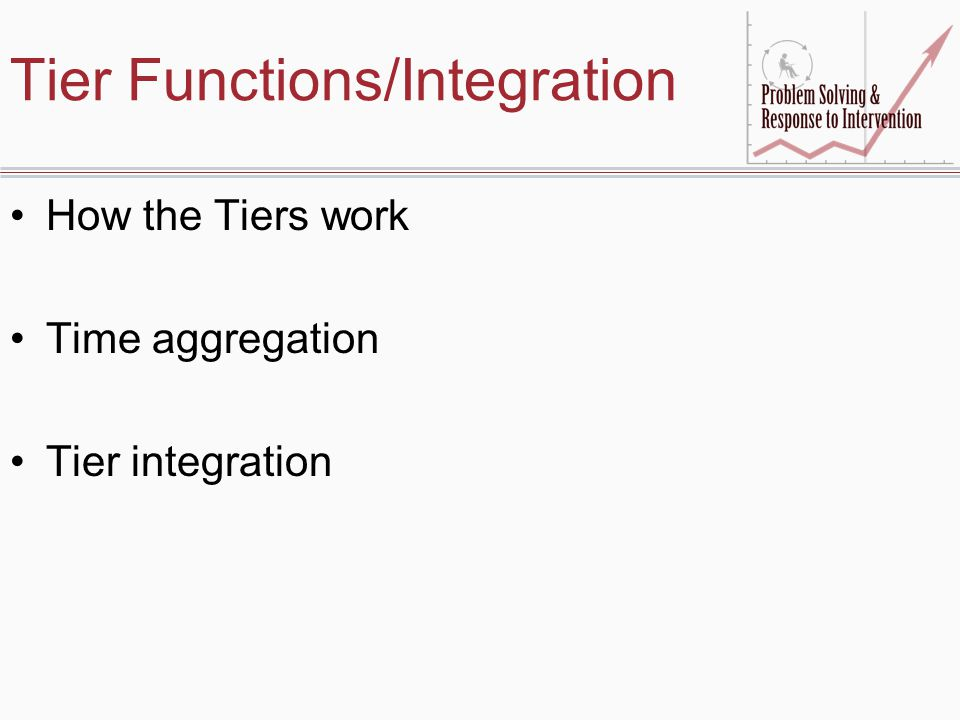 Tier Functions/Integration How the Tiers work Time aggregation Tier integration