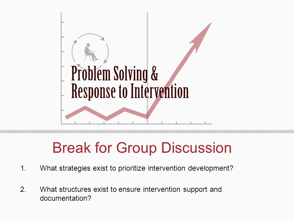 Break for Group Discussion 1.What strategies exist to prioritize intervention development.