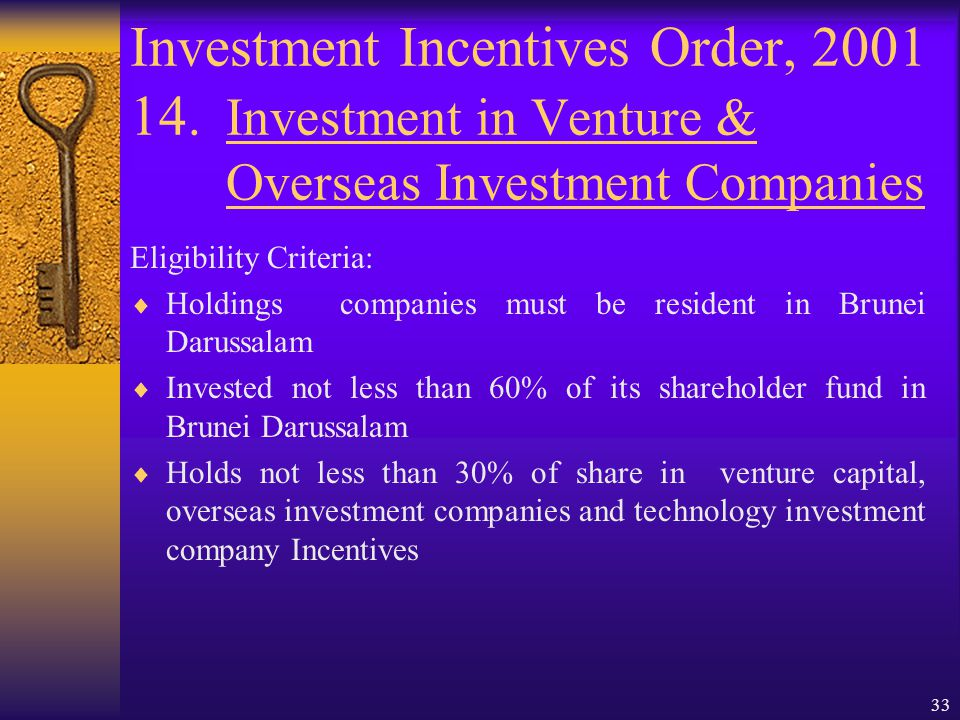 32 Investment Incentives Order, 2001 14. Investment in Venture & Overseas Investment Companies Objective:  Encourage holdings companies to invest in