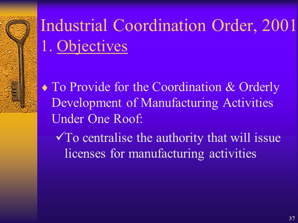 Industrial Coordination Order, 2001