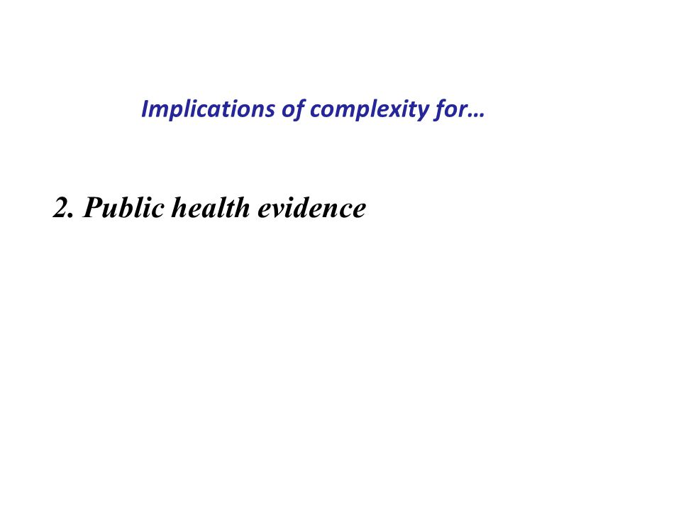 Implications of complexity for… 2. Public health evidence