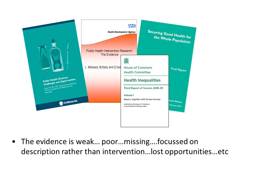 So why are bits of the public health jigsaw missing? Many reasons…