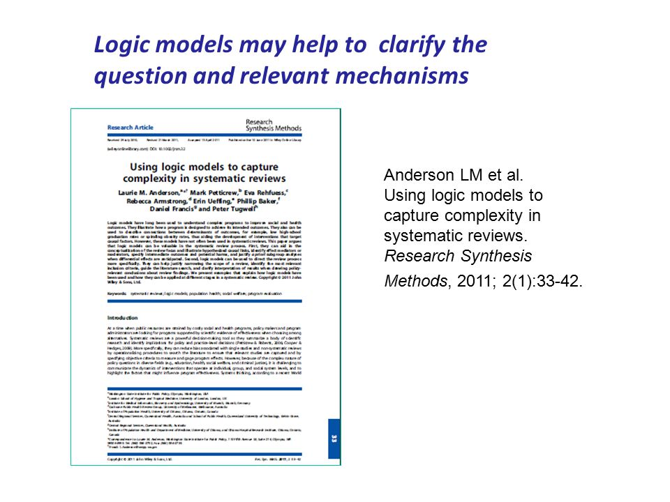 Logic models may help to clarify the question and relevant mechanisms Anderson LM et al.