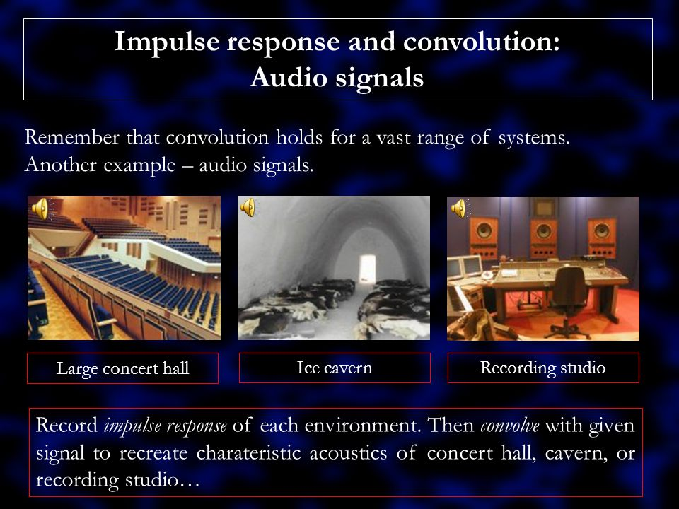 Impulse response and convolution.