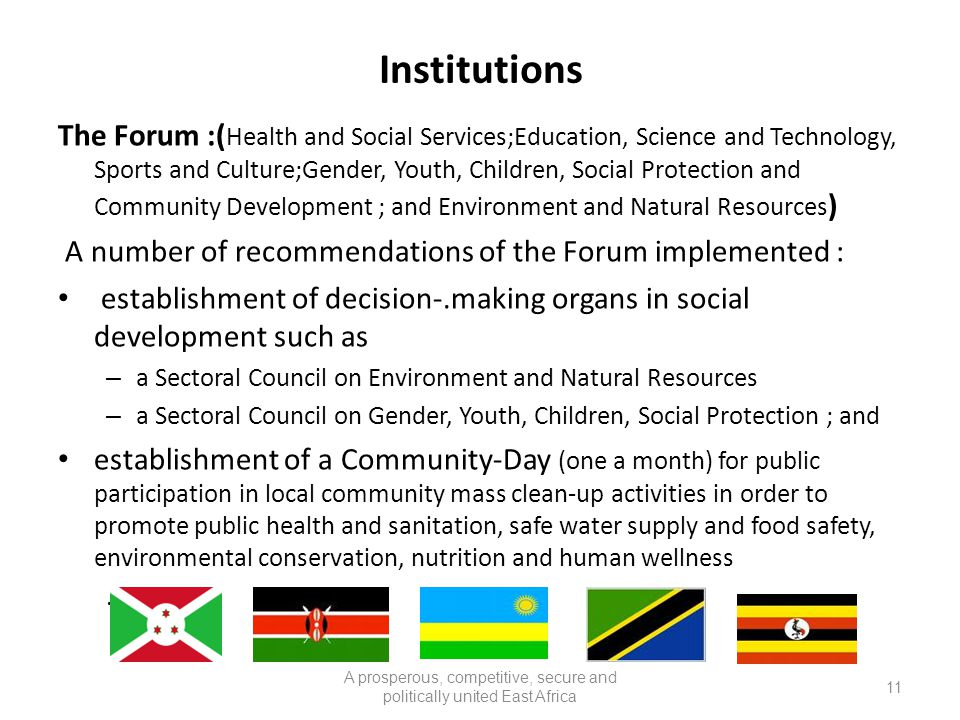Institutions The Forum :( Health and Social Services;Education, Science and Technology, Sports and Culture;Gender, Youth, Children, Social Protection