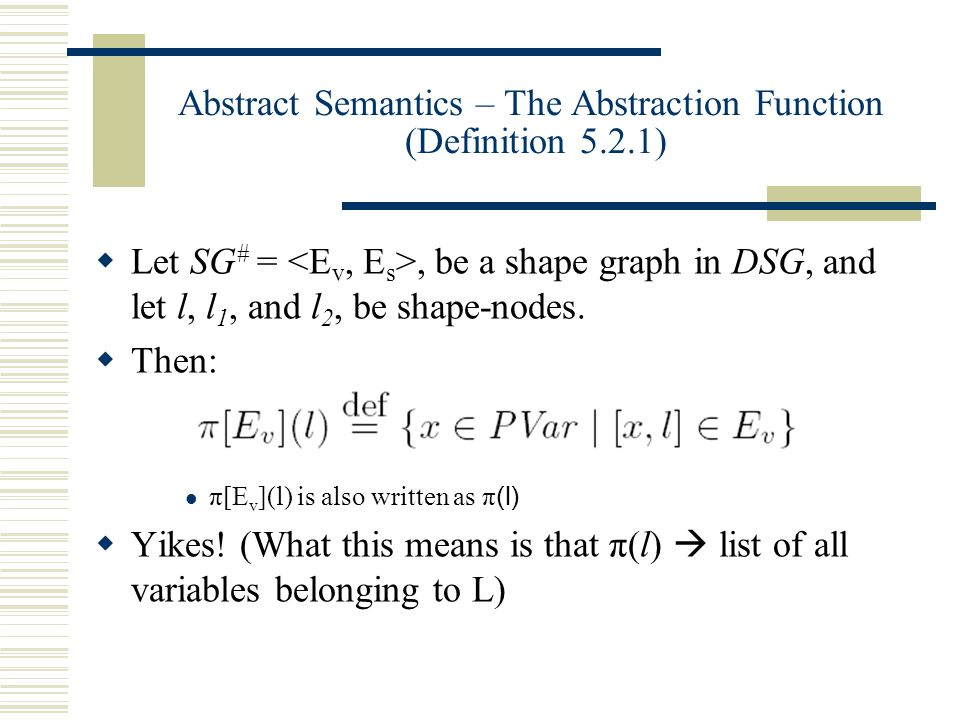 Abstract Semantics – The Abstraction Function (Definition 5.2.1)  Let SG # =, be a shape graph in DSG, and let l, l 1, and l 2, be shape-nodes.