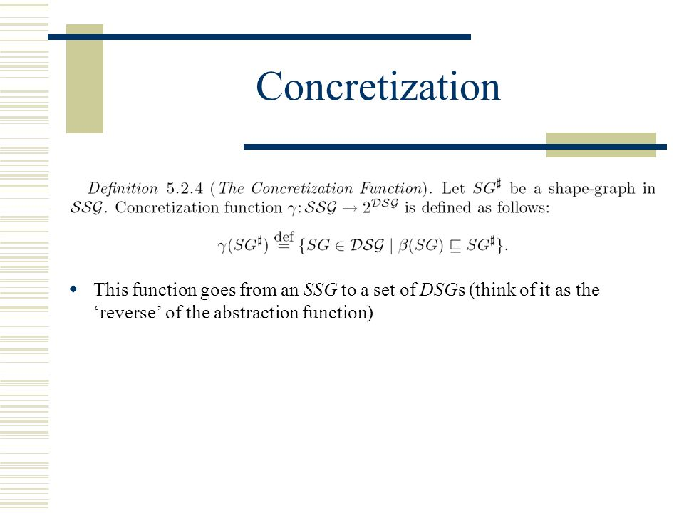 Concretization  This function goes from an SSG to a set of DSGs (think of it as the 'reverse' of the abstraction function)