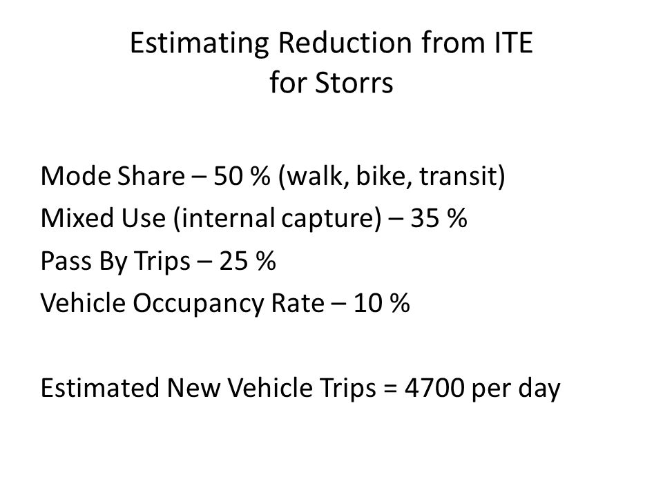 Estimating Number of New Vehicle Trips for Storrs Mode Share = 0.5 * 24,600 = 12,300 Number of Vehicle Trips Accounting for Mode Share = 24,600 – (0.5*24,600) = 12,300 Amount of reduction due to Mixed Use = 0.35*12,300 = 4,305 Amount of reduction due to Pass By Trips = 0.25*12,300 = 3,075 Amount of reduction due to Vehicle Occupancy Rate = 0.10*12,300 = 1,230 Estimated New Vehicle Trips = 12,300 – (4,305 + 3,075 + 1,230) = 3,690