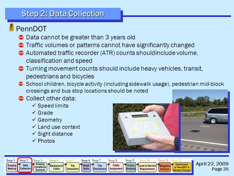 April 22, 2009 Page 35 Step 2: Data Collection PennDOT Data cannot be greater than 3 years old Traffic volumes or patterns cannot have significantly c