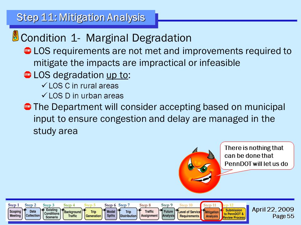 April 22, 2009 Page 55 Condition 1- Marginal Degradation LOS requirements are not met and improvements required to mitigate the impacts are impractica
