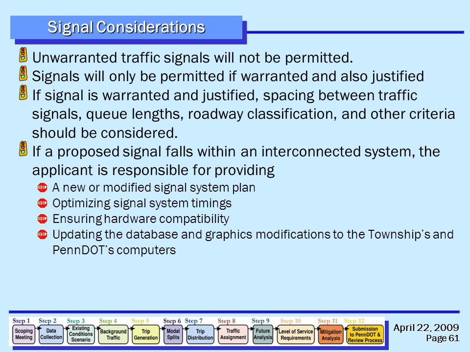 April 22, 2009 Page 61 Signal Considerations Unwarranted traffic signals will not be permitted.