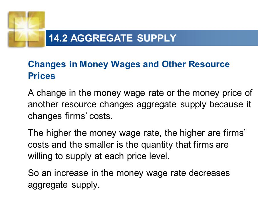 14.2 AGGREGATE SUPPLY Changes in Money Wages and Other Resource Prices A change in the money wage rate or the money price of another resource changes