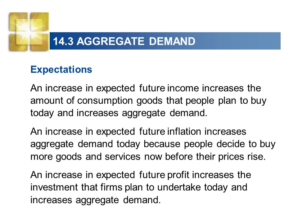 14.3 AGGREGATE DEMAND Expectations An increase in expected future income increases the amount of consumption goods that people plan to buy today and i