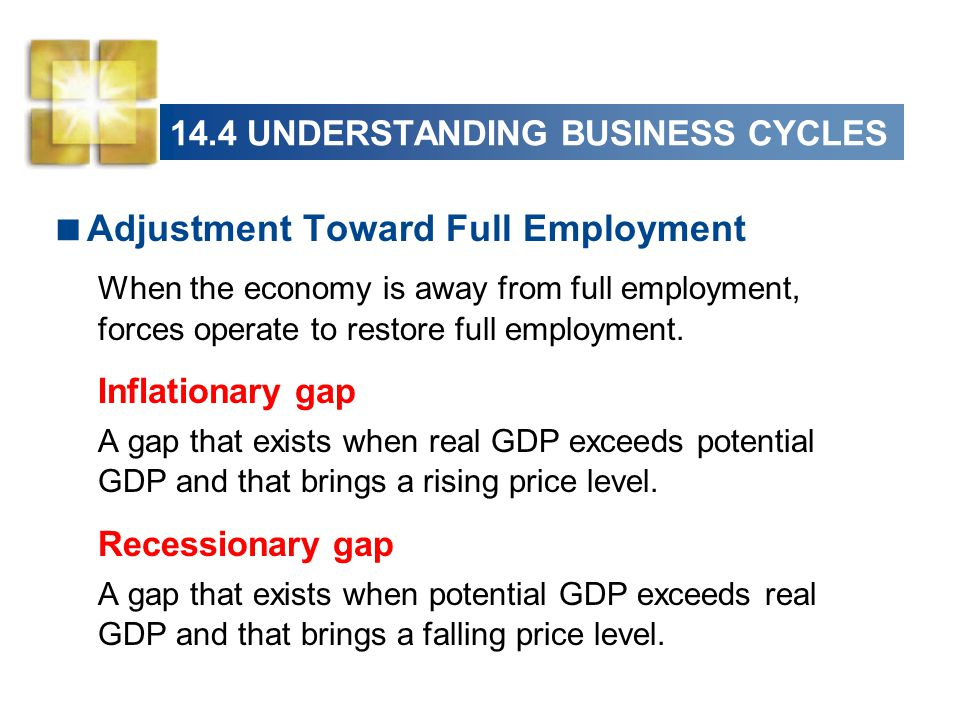 14.4 UNDERSTANDING BUSINESS CYCLES  Adjustment Toward Full Employment When the economy is away from full employment, forces operate to restore full e