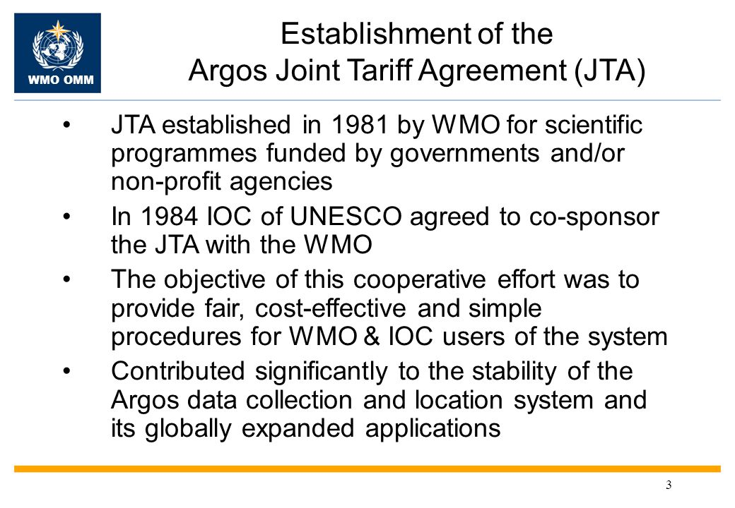 WMO OMM 4 Data buoy community influence on Argos system WMO-IOC Data Buoy Cooperation Panel (DBCP) Established in 1985 DBCP closely associated to JTA & has been influential in promoting WMO & IOC requirements –Development of a GTS data processing system –Global network of regional Argos receiving stations (for data timeliness) –Argos system improvements taking into account DBCP requirements –Automatic collection of instrument/platform metadata by JCOMMOPS –Publication of DBCP Tech.