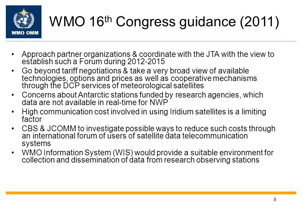 WMO OMM Request from EC-PORS Lower tariffs Faster data transfer for forecast models.