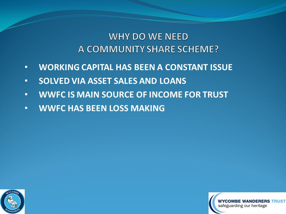 WORKING CAPITAL HAS BEEN A CONSTANT ISSUE SOLVED VIA ASSET SALES AND LOANS WWFC IS MAIN SOURCE OF INCOME FOR TRUST WWFC HAS BEEN LOSS MAKING