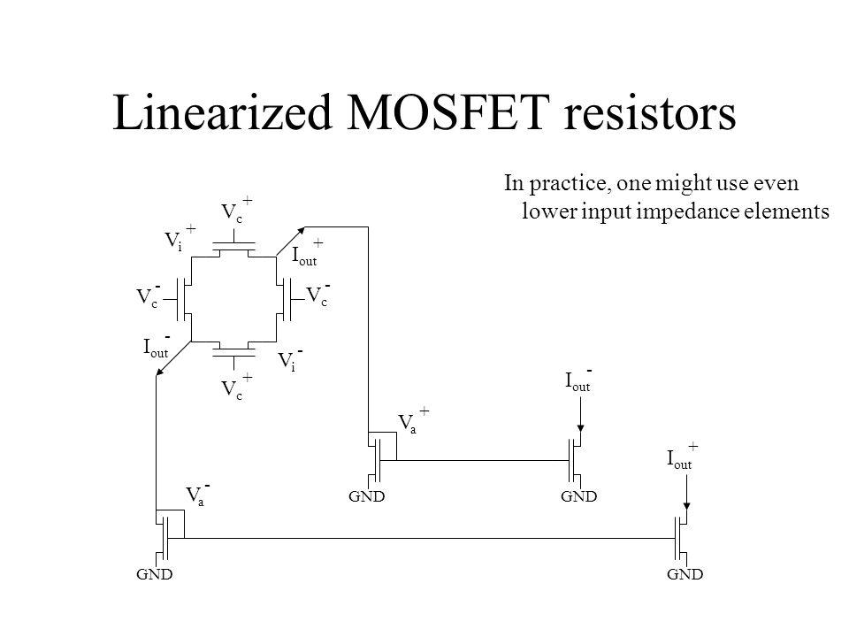 Linearized MOSFET resistors ViVi + ViVi - VaVa + VaVa - VcVc + VcVc - VcVc + VcVc - I out + - + - In practice, one might use even lower input impedance elements GND