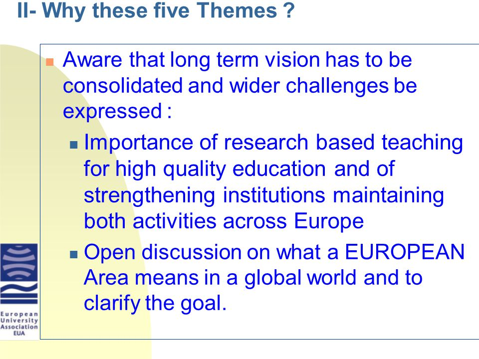 II- Why these five Themes .