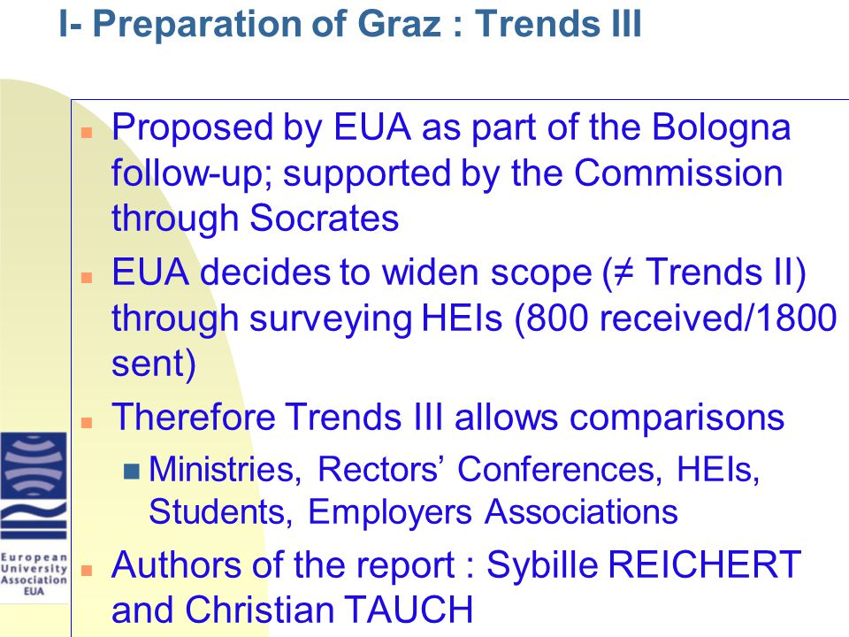 I- Preparation of Graz : Trends III Proposed by EUA as part of the Bologna follow-up; supported by the Commission through Socrates EUA decides to widen scope (≠ Trends II) through surveying HEIs (800 received/1800 sent) Therefore Trends III allows comparisons Ministries, Rectors' Conferences, HEIs, Students, Employers Associations Authors of the report : Sybille REICHERT and Christian TAUCH