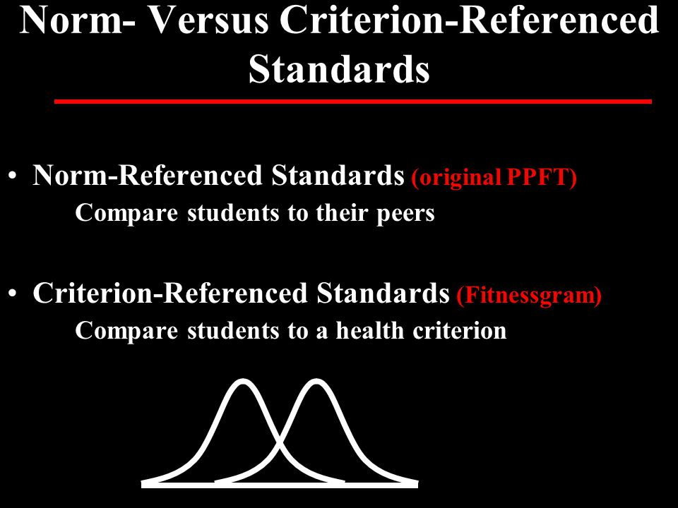 Norm- Versus Criterion-Referenced Standards Norm-Referenced Standards (original PPFT) Compare students to their peers Criterion-Referenced Standards (Fitnessgram) Compare students to a health criterion